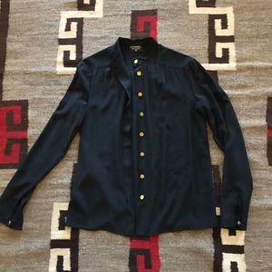 Vintage Silk Chanel Blouse - Black